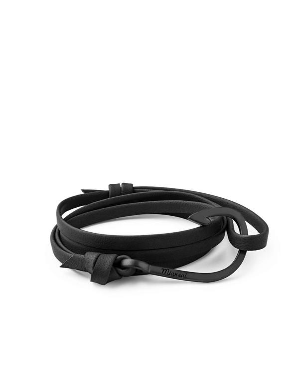 Miansai Hook on Leather Bracelet - Noir Black