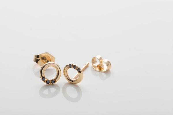 Jennie Kwon Designs Black Diamond O Studs