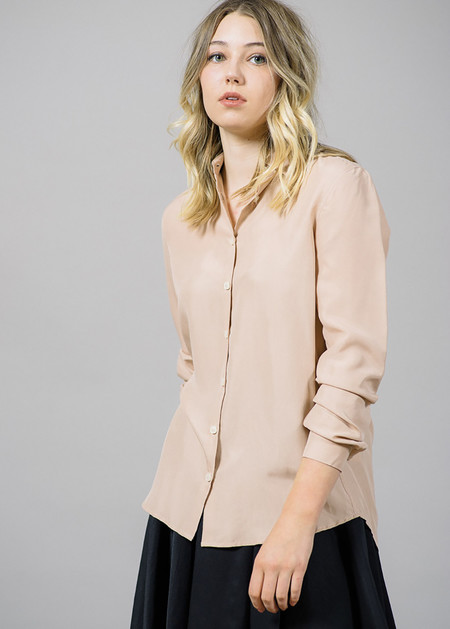 Whyred Karolina Washed Silk Shirt in Blush