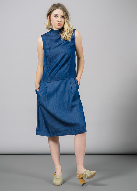 Whyred Ranae Mock Neck Denim Dress