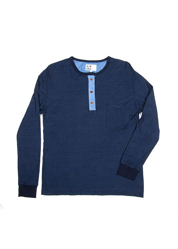 Men's Almond Surfboards & Design - Wave Miner Henley in Indigo