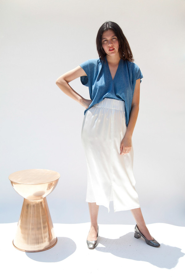 Miranda Bennett Paper Bag Skirt, Silk Charmeuse in Natural