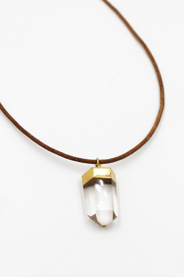 Sheila B Quartz on Leather Cord Necklace