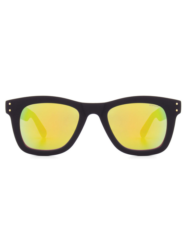 Komono Allen Sunglasses Black Rubber Gold Mirror
