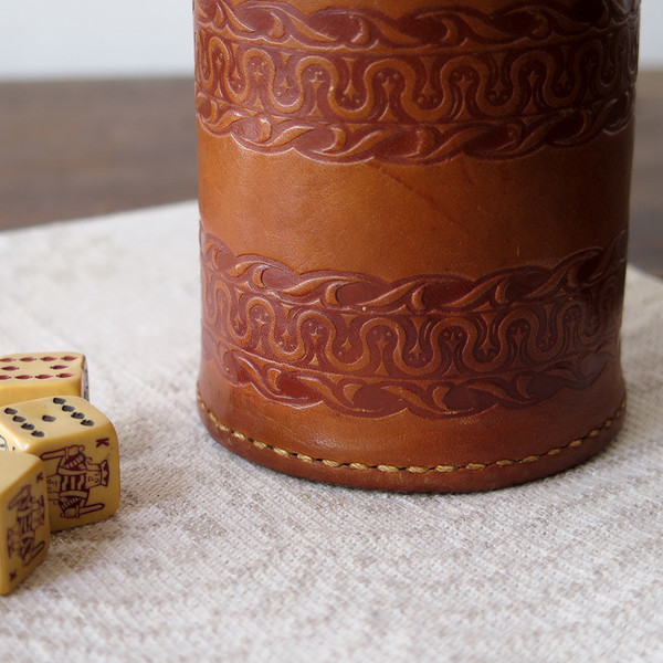 Erica Tanov leather dice cup set