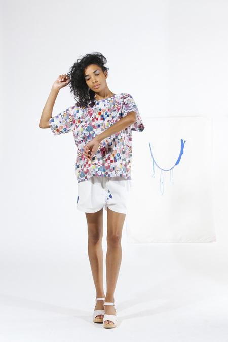 Carleen Box Top - Quilt Print