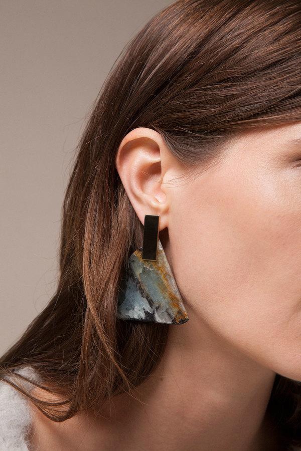 Kathleen Whitaker Aquamarine Slice Earrings