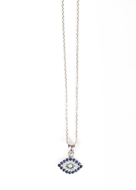 Blee Inara CZ Eye Charm Necklace in Sterling Silver