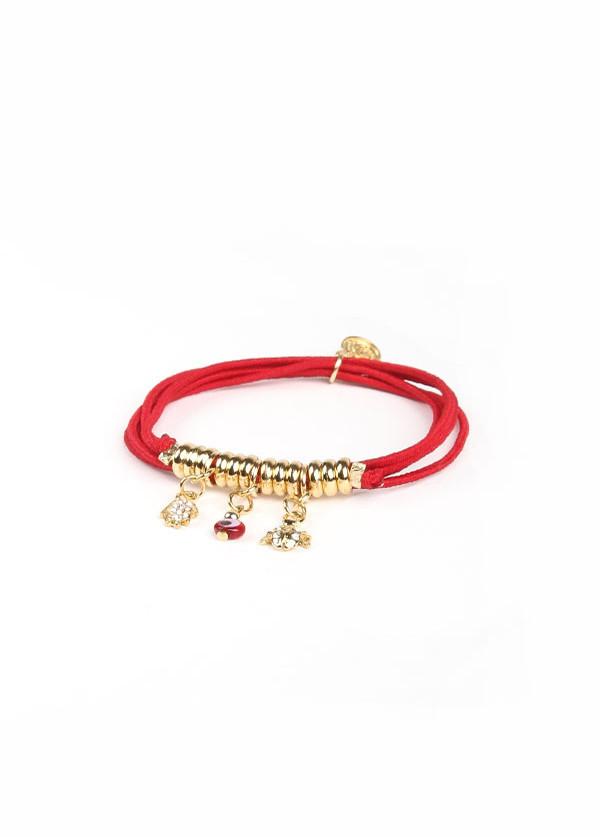 Blee Inara - Three Charm Elastic Bracelet in Red