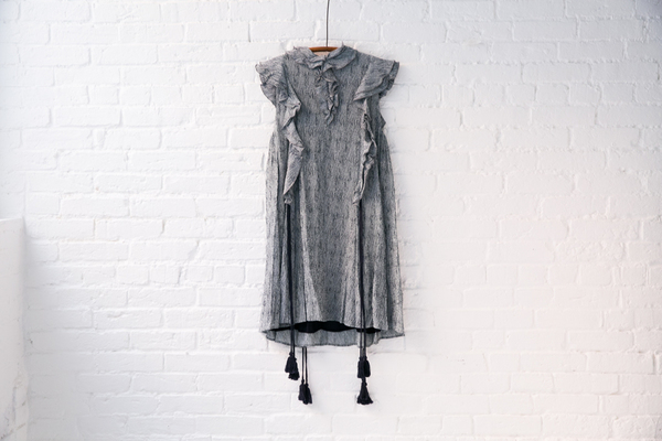 apiece apart woodgrain ruffle dress