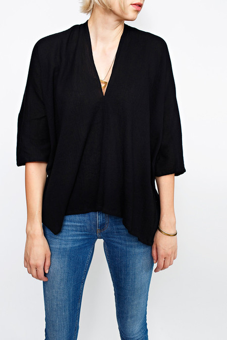Miranda Bennett Black Muse Top | Cotton Gauze