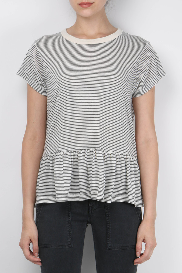 The Great Mini Stripe Ruffle Tee