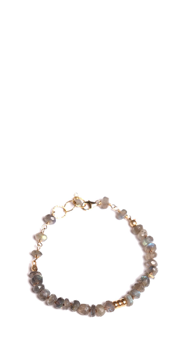 James and Jezebelle Labradorite with Gold Beads Bracelet