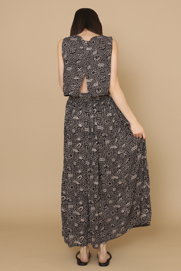 Osei-Duro Boa Skirt in Black Doodle-Bop