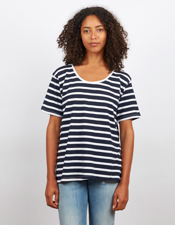 Kowtow Building Block Scoop Tee Navy & White Stripe