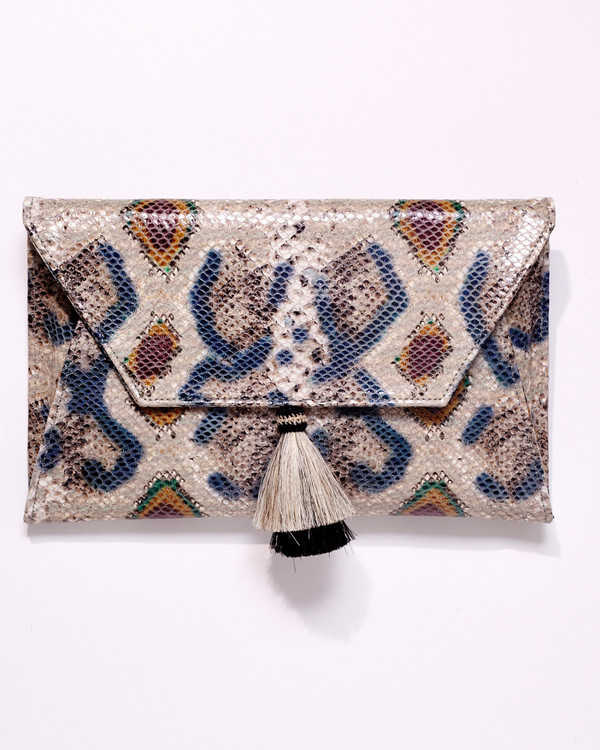 OLIVEVE cleo envelope clutch in jewel cobra cow leather with horsehair tassel