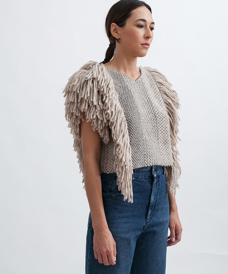 Rachel Comey Cropped Fringed Alpaca Vest in Camel