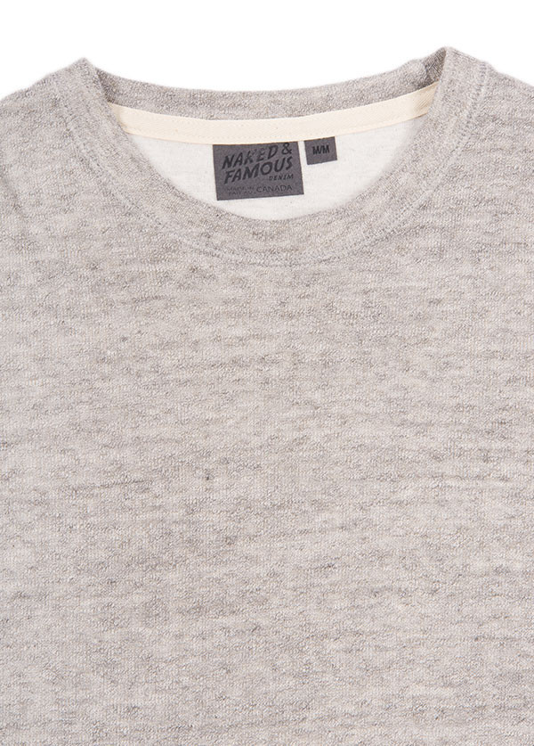 Naked & Famous Denim - Slim Crewneck Vintage Doubleface in Grey