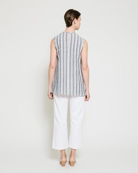 Gary Bigeni Safil Fold Top in Grey Stripe