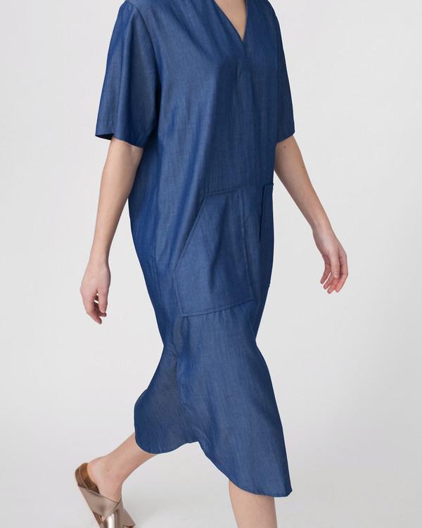 Achro Tencil Denim Dress in Dark Blue