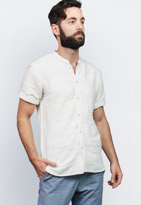 Men's New Market Goods Khadi Short-sleeve Button-down Shirt