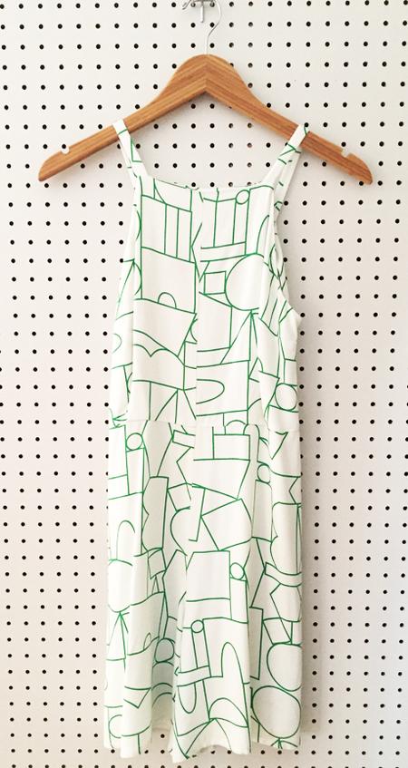 Dusen Dusen Shorts Romper - Green Blockhead