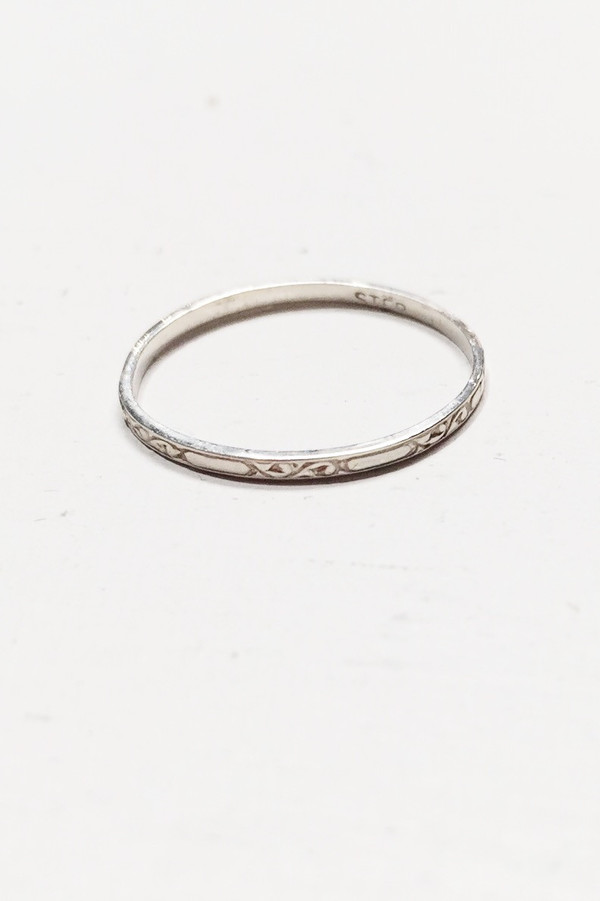 L. SHOFF Sterling Silver Engraved Band