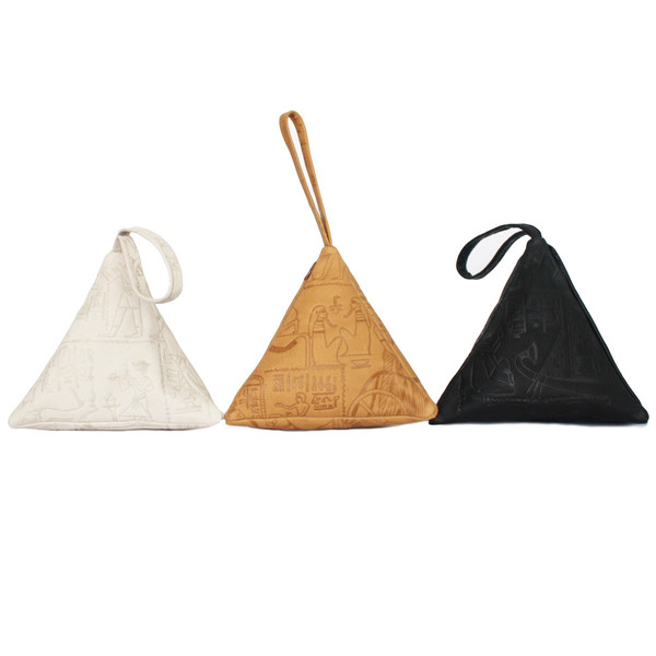 Pyramid Bag, Embossed Tan