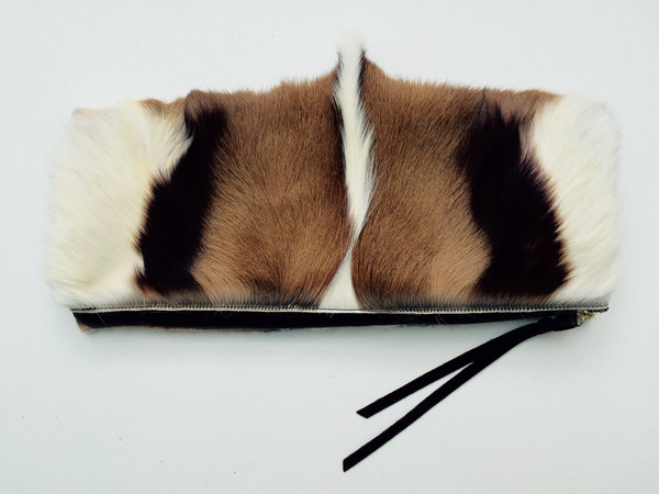 Oliveve Anastasia Clutch In Brown/White Springbok And Brown Cow Leather