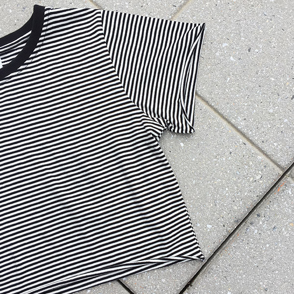Rue Stiic - B&W Striped Cropped Tee