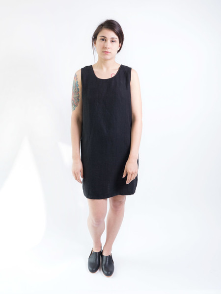 DUO NYC Vintage Black Linen Tank Dress