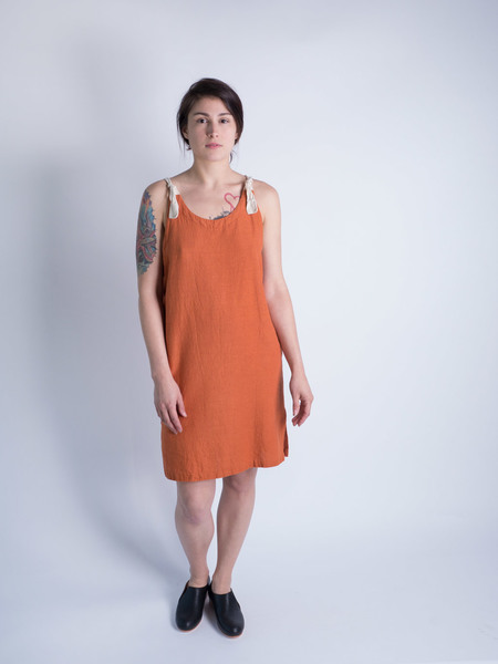 DUO NYC Vintage Orange Linen Dress