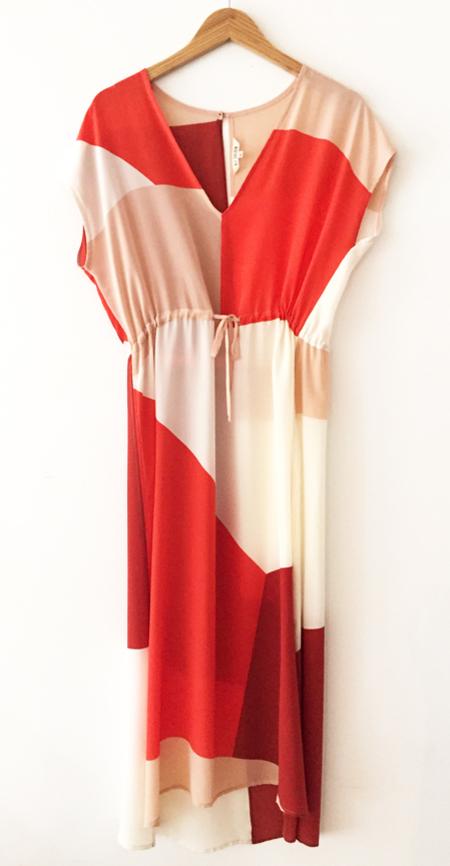 Ali Golden Drawstring Silk Dress - Reds