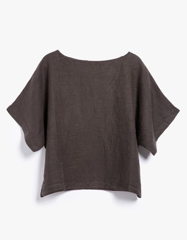 Black Crane Linen Square Top - Grey