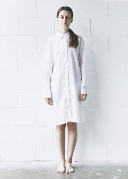 The Sleep Shirt - Button Down Sleep Shirt in White Linen