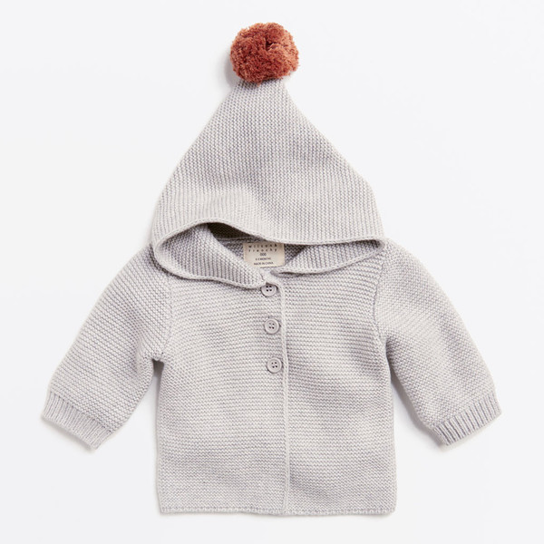 Wilson & Frenchy Mouse Grey Knitted Jacket With Hood