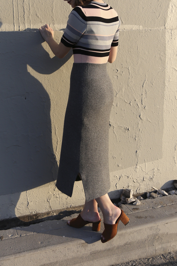 PRE-ORDER - Objects Without Meaning Fitted Skirt, Grey
