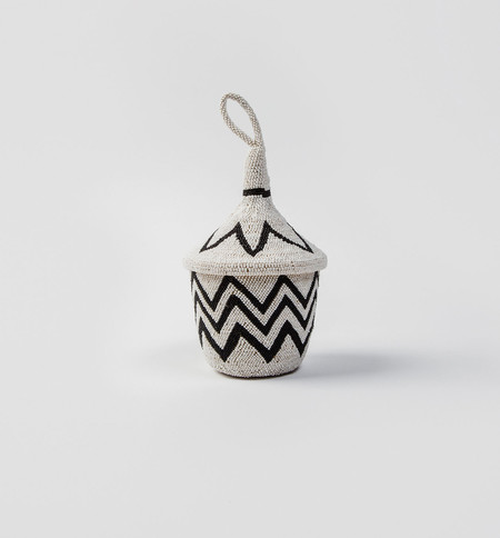 Indego Africa Beaded Zigzag Agaseke Basket