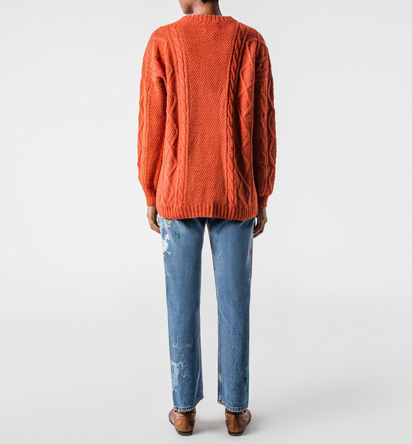H. Fredriksson Cable Sweater Orange