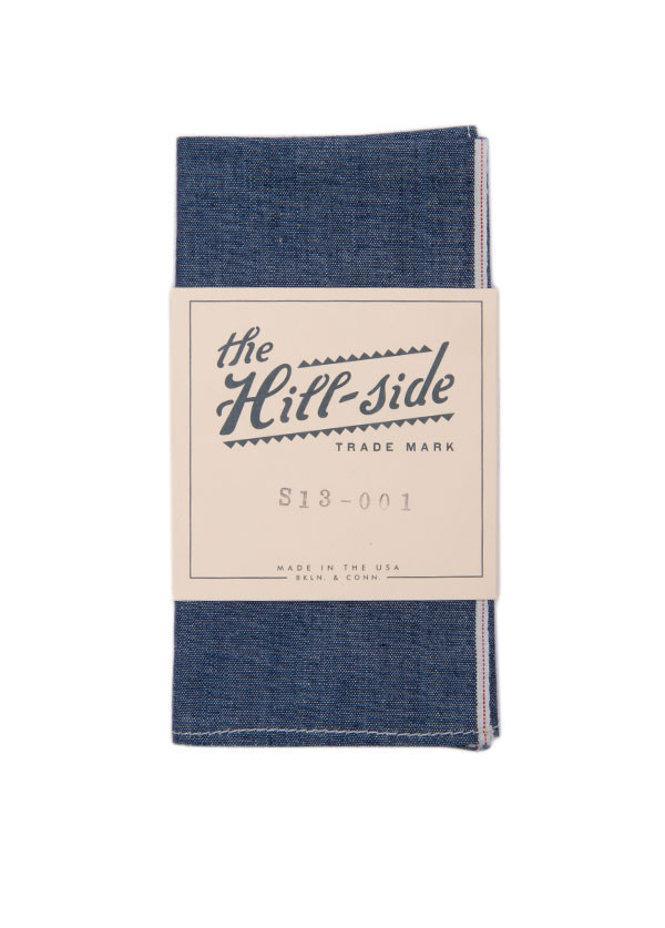 The Hill-Side - Selvedge Chambray Pocket Square, Indigo