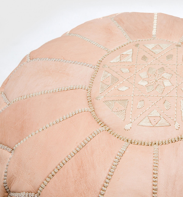 MindaHome Moroccan Embroidered Pouf