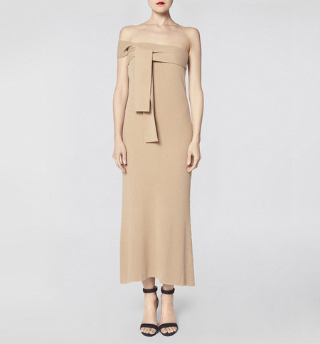Ryan Roche One Shoulder Dress Camel