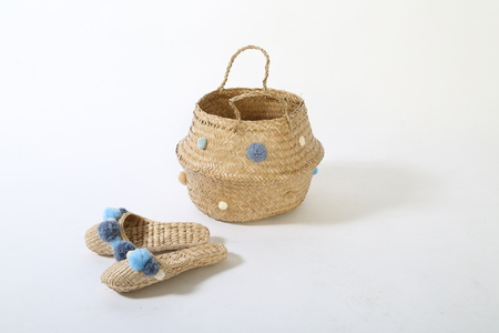 Serenity Blue basket and slipper combo