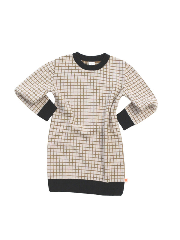 Tinycottons Grid Oversized Sweater Knit Beige/Black