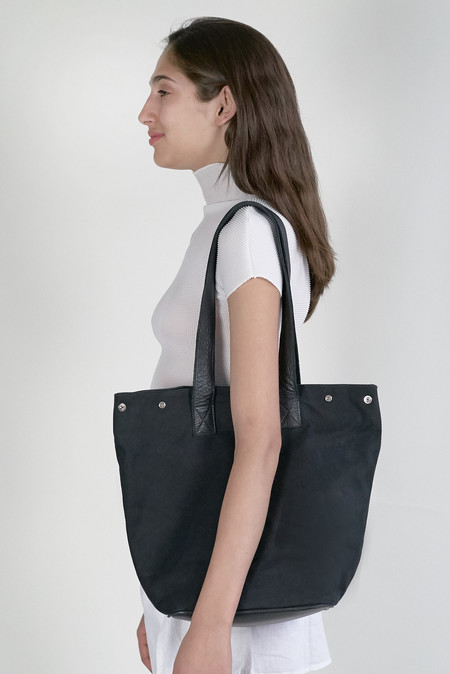 Clyde Belve Snap Tote in Black Canvas w. Black Leather Details