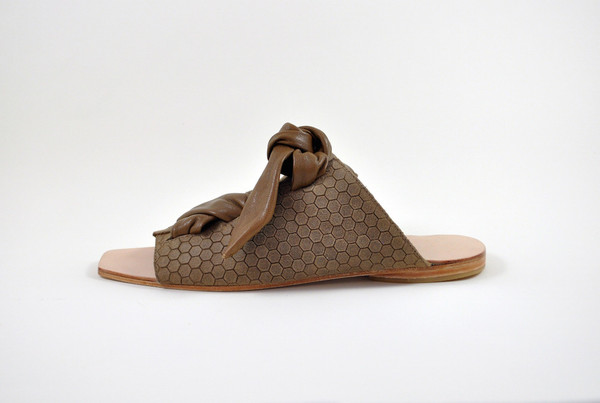 The Palatines Shoes Texo Sandal - Bark Hex Leather W Shiny Bark Ties