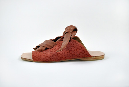 The Palatines Shoes Texo Sandal - clay Hex Leather W Shiny Rust Ties