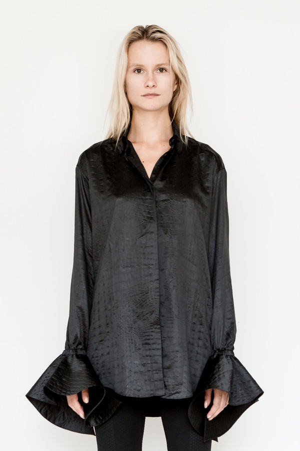 Area Ruffle Sleeve Embossed Blouse