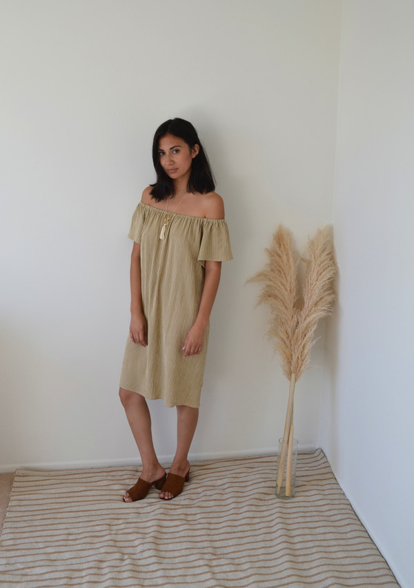 BETWEEN TEN Beverly Dress - Beige Stripe