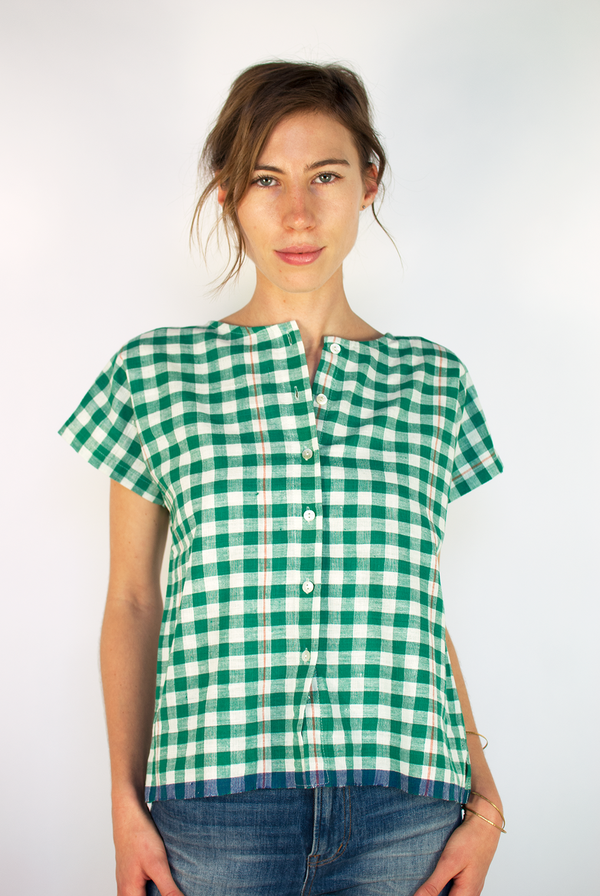 Muny Gingham Khadi Top